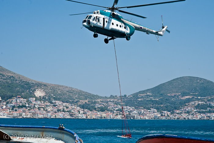 SAMOS-MEDIA: Firefighting with helicopters on Samos island in Greece
