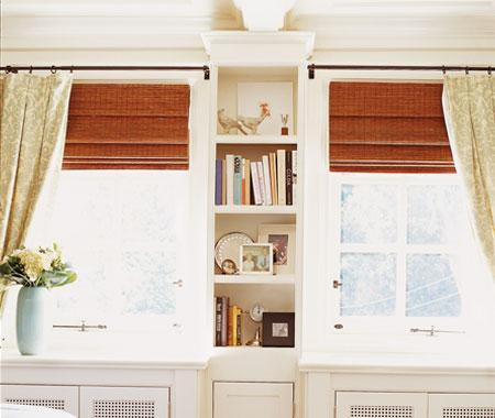 bedroom windows woven blinds and curtain panels