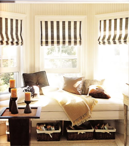 bedroom windows with roman blinds