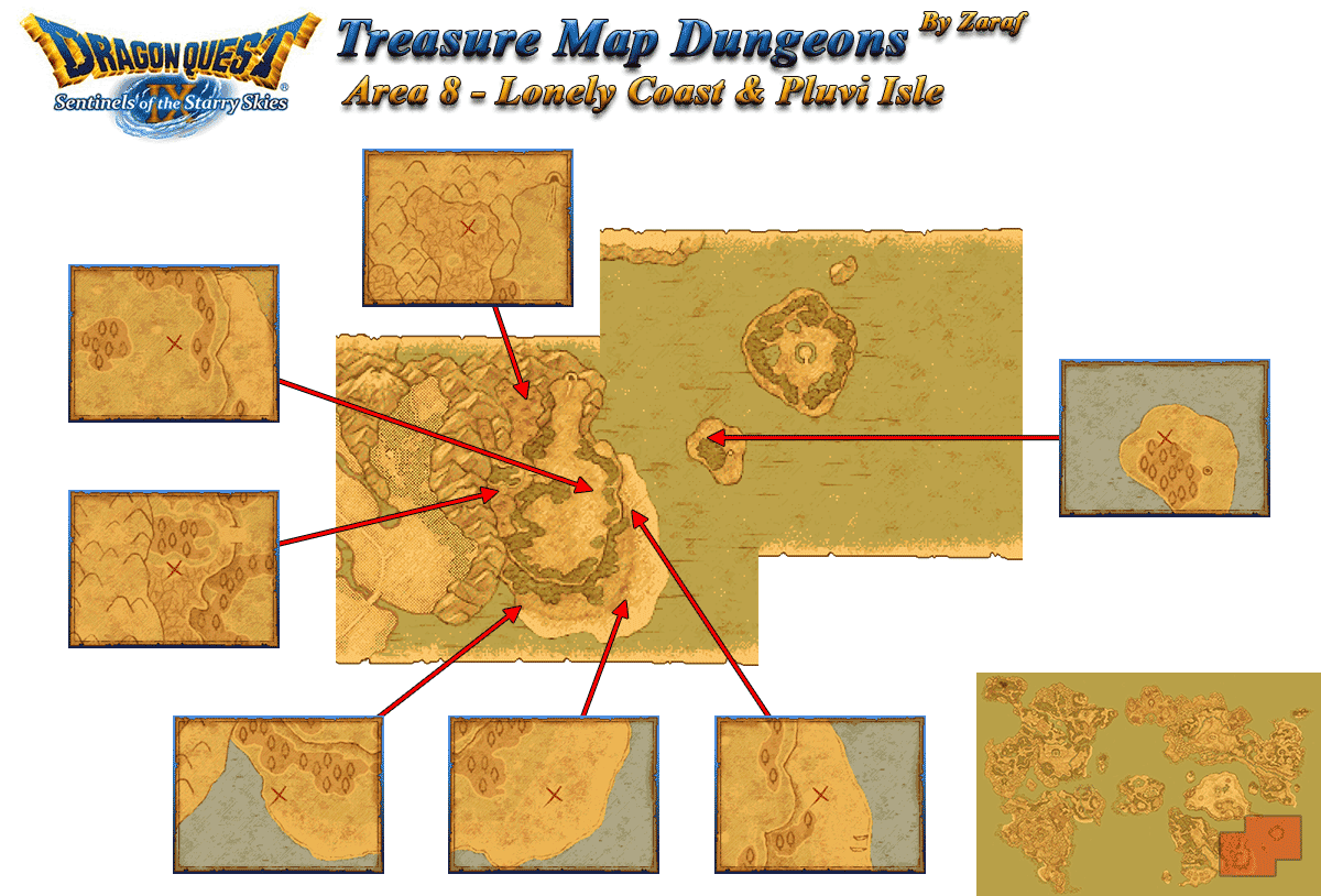 Dragon Quest 9 Grotto Maps: Lonley Coast And Pluvi Isle ...