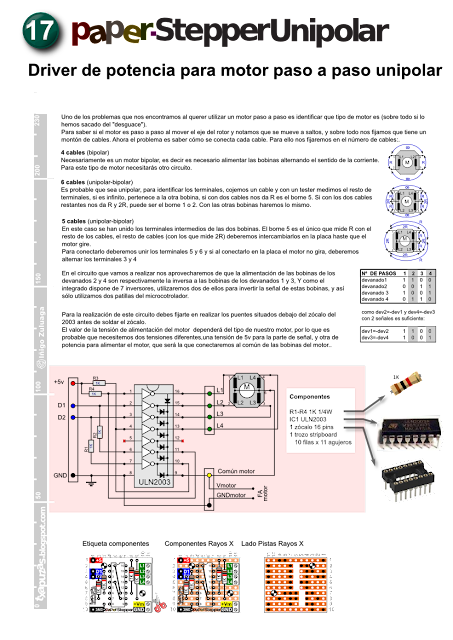 PaperSepperUnipolar: An homemade driver for unipolar stepper motor with uln2003