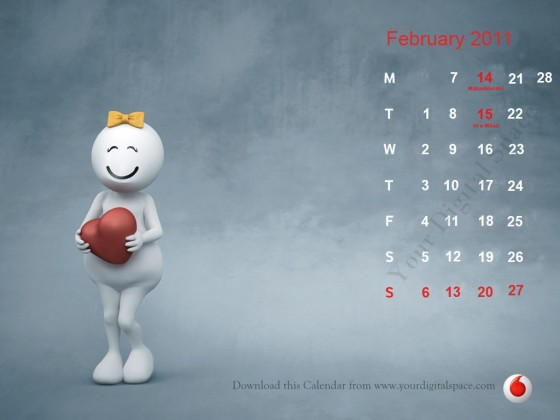 February 2011 Calendar 932x632. Choose any printable calendar and download
