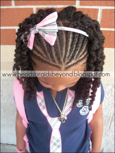 Beads Braids And Beyond Half Cornrows With Three Strand