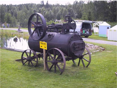 steam locomotive with pulley