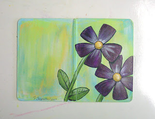 altered board book painted flowers