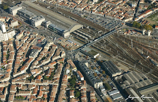 photo aerienne gare Saint Jean a Bordeaux