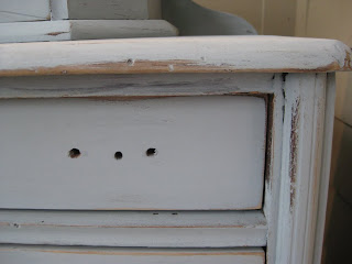 distressed dresser diy close up