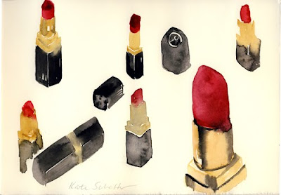 Kate Schelter watercolor painting of Chanel red lipsticks.