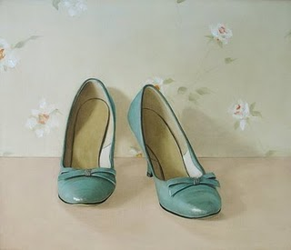Vintage aqua pumps painting by Holly Farrell