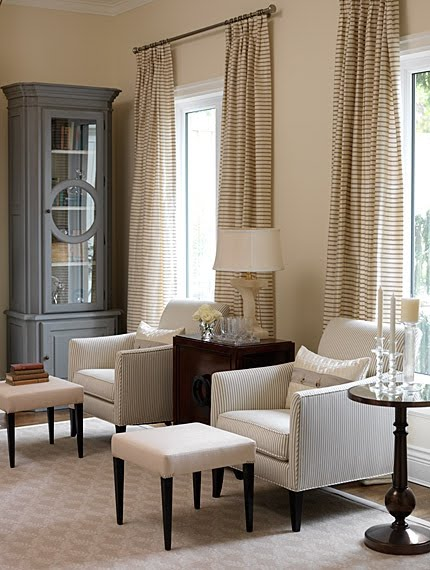 Striped drapes in classic designed living room