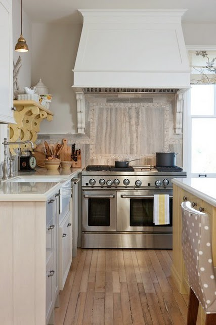 Stainless range and hood in Sarah Richardson's farmhouse kitchen on Hello Lovely
