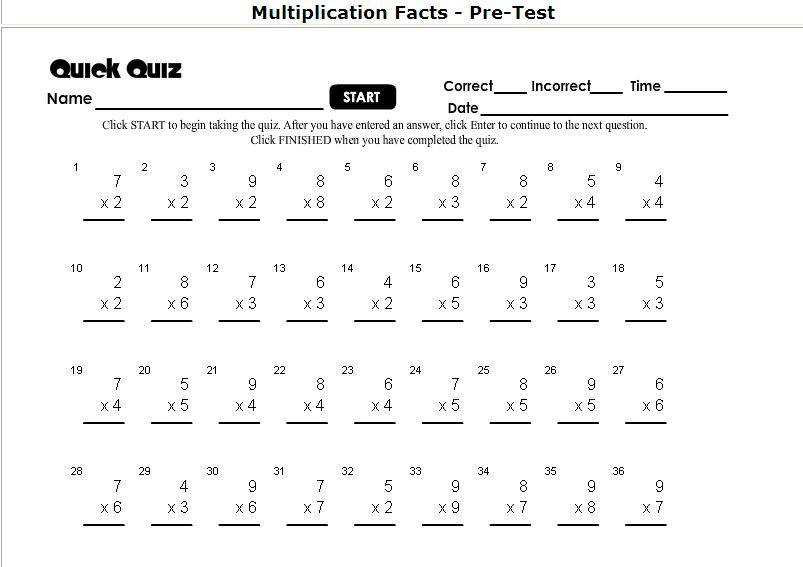 Multiplication Timed Test Worksheet. Precommunity Printables ...