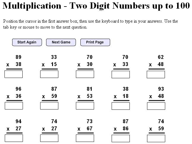 Homeschool Parent Multiplication Two Digit Numbers Up