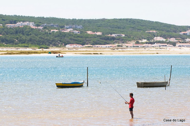 Fishing at Obidos lagoon, viewed from Foz do Arelho