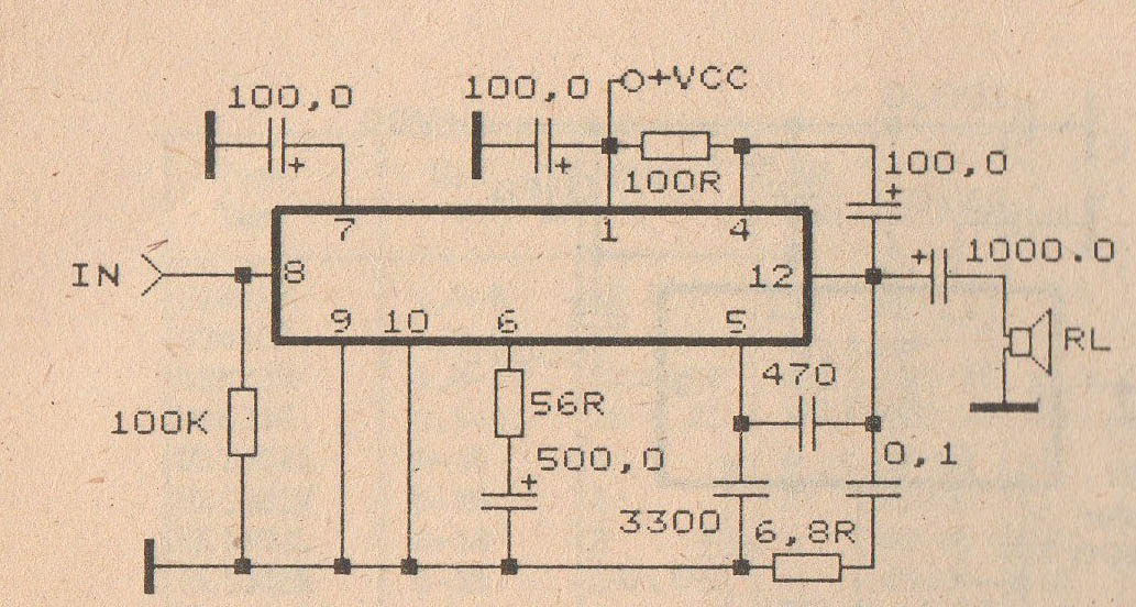 Schematic Audio Amplifier With Ic An374 - Wiring Diagram Content