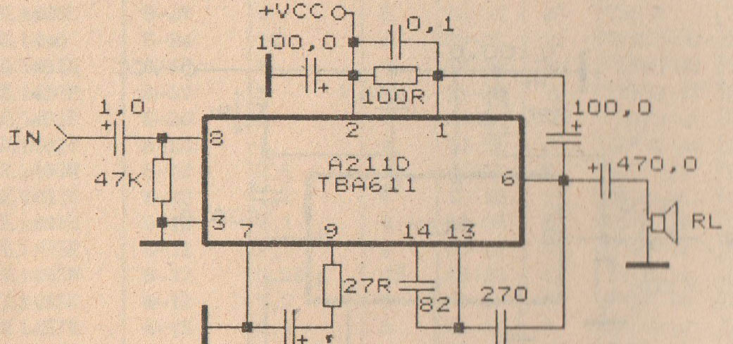 schematic audio amplifier with ic a211d tba611 electronic circuit rh elcircuit com Amplifier Diagram Voltage Amplifier Schematic