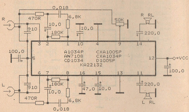 Schematic Audio Amplifier with IC AN7108