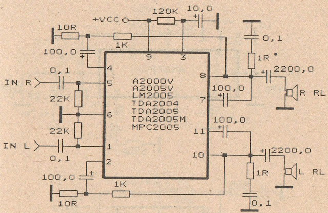 circuit diagram TDA2004 Audio Power Amplifier