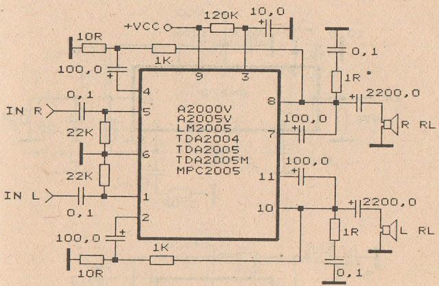 circuit diagram TDA2004 Audio Power Amplifier