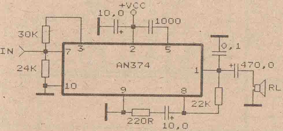 schematic audio amplifier with ic an374 subwoofer bass amplifierschematic audio amplifier with ic an374