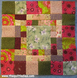how to make a log cabin quilt block from The Quilt Ladies