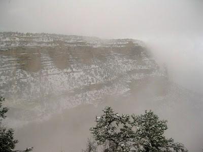 Kolb Studio veranda view with snow South Rim Grand Canyon National Park Arizona