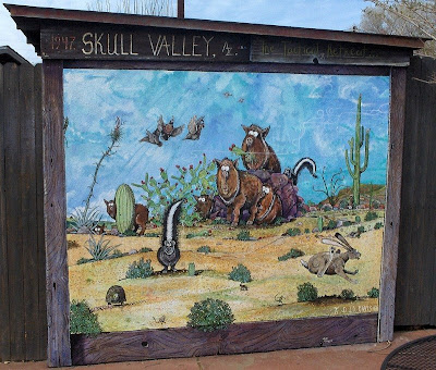 Mural by Prescott artist J.D. Davis at Skull Valley Cafe Skull Valley Arizona