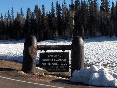 Sign entering Grand Canyon National Park Arizona