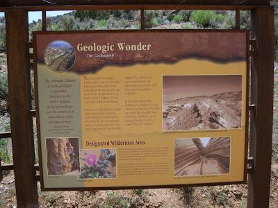 Geology interpretation sign Cockscomb Utah