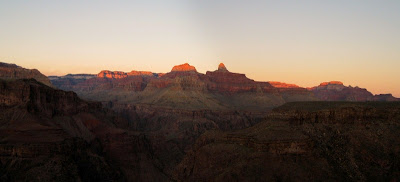 Last light on temples from Plateau Point Grand Canyon National Park Arizona