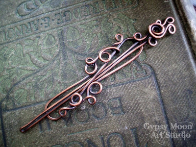 handmade woodland copper barrette