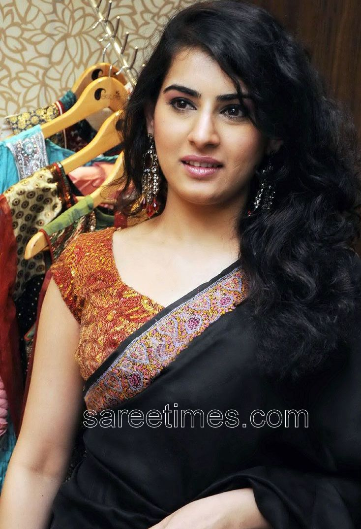 8f783481e079bc Veda in Black Saree paired with Designer Saree Blouse. On 3 04 PM. South  Indian actress ...