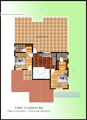 Kerala Villa Plan - 2627 sq ft - First Floor