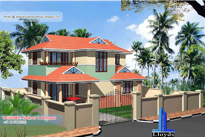 Kerala villa plan and elevation - 1369 Sq. Feet