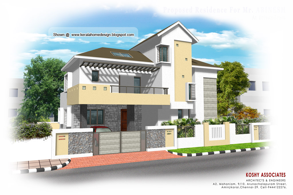 Front Elevation Of House In Chennai : Modern house plan sq ft kerala home design and