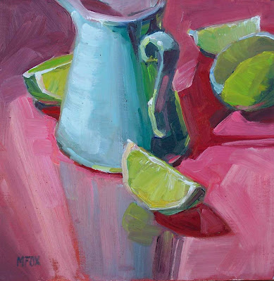 Teal Vintage Creamer & Limes: square oil painting, lime wedges slices, fruit, kitchen art, still life Marie Fox