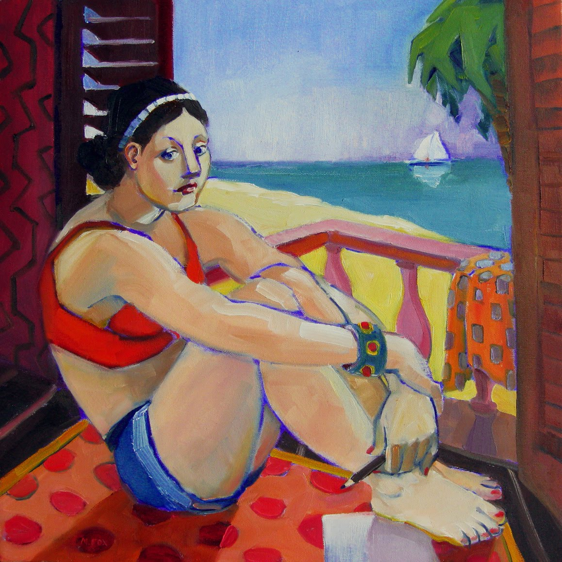 French Memories Oil Painting Canvas Colorful Figurative Art Woman At Beach Semi Nude Female Figure Riviera