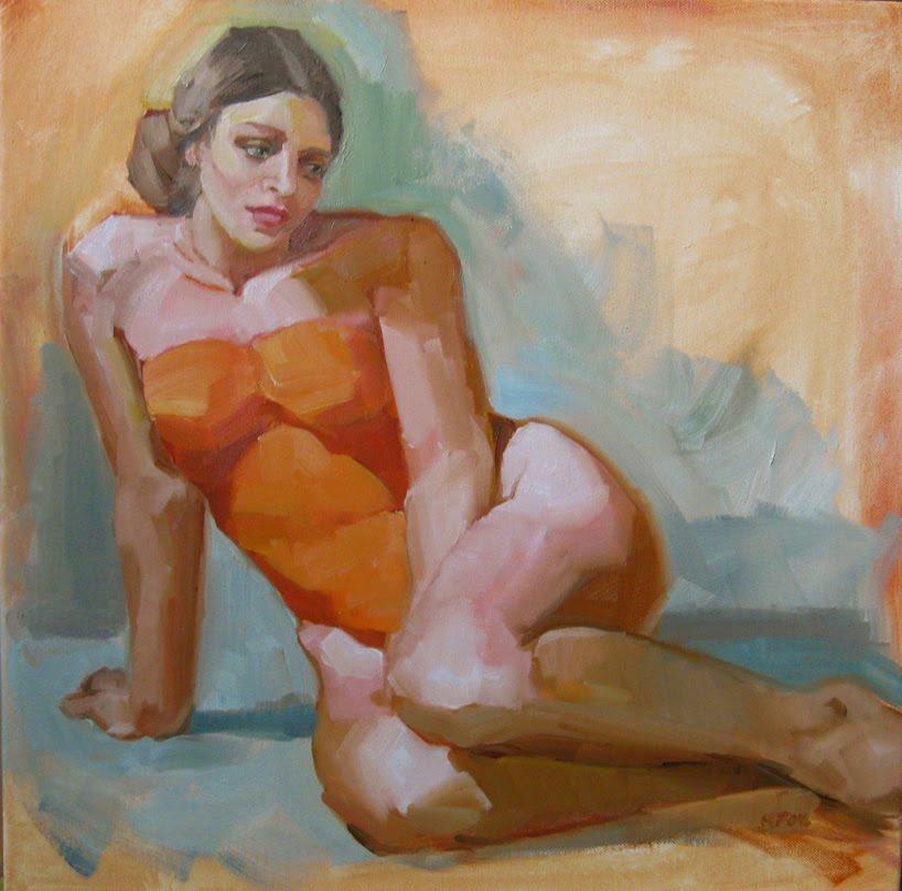 GIrl In Orange By Marie Fox Figurative Oil Painting Figure Painters Woman Art