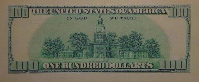 "Klaus Guingand artwork  - ""$ 100 dollats bill""(Verso) Digital prints on paper: 6,14 x 2,59 inches Dollart TM © Klaus Guingand"