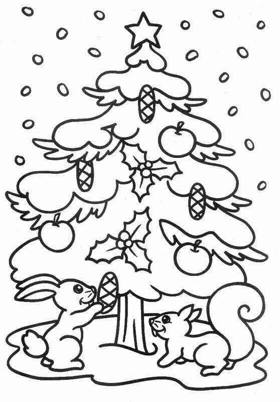 Dibujos Navidad Para Colorear Arbol De Navidad Conejito