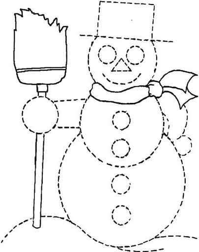 Dibujo Infantile De Muñeco De Nieve Para Puntear Y Colorear