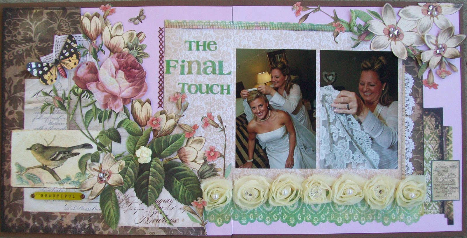 How to put scrapbook back together - I Also Used Other Papers From The Bg Curio Collection And Literally Took Apart Every Flower You See In This Layout And Put Them Back Together