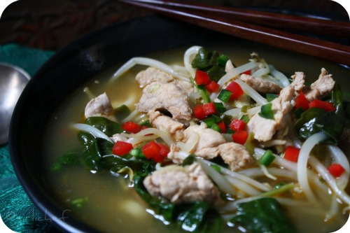 Noodle Soup w/ Pork, Bean Sprouts, & Spinach <i><b>inspired