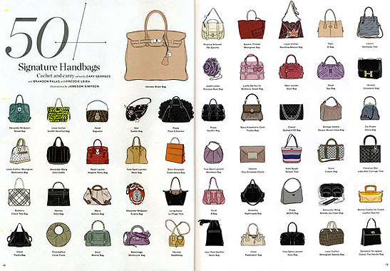 Top 50 Signature Handbags Illustrated By Jameson Simpson La Times