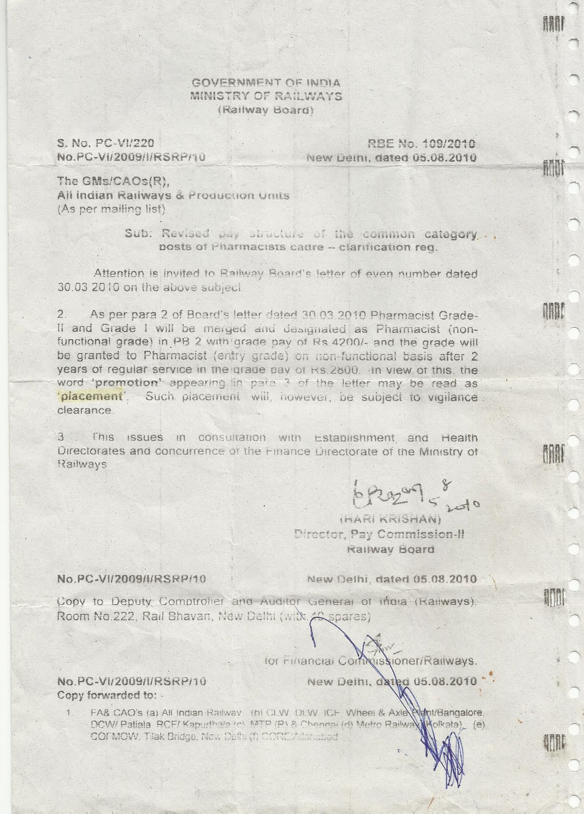 Indian Railway Pharmacist Association: Recomendation of