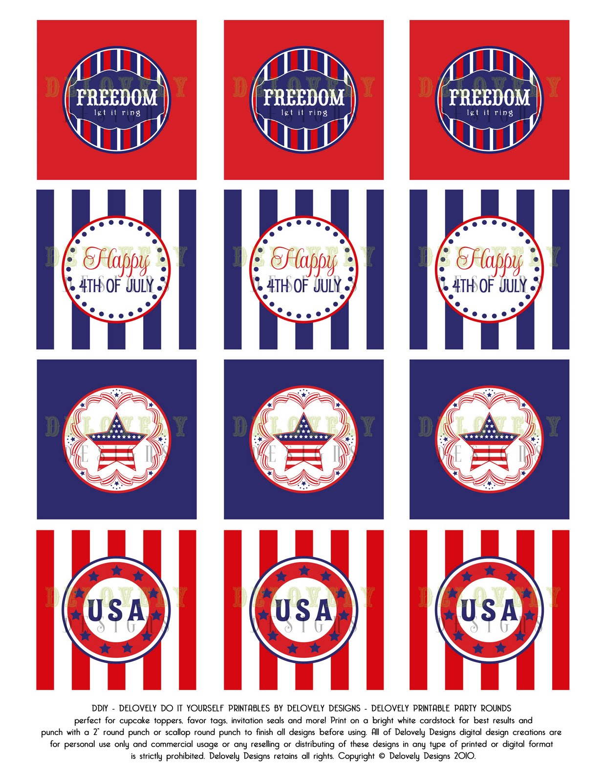 Delovely Designs 4th Of July Printable Party Circles