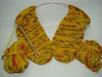 2 @ time ~ Toe up socks on 2 Circulars