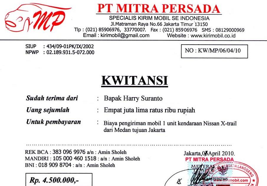 Kwitansi Rental Mobil Surabaya Satu Manfaat