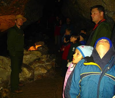 Park Service ranger at Jewel Cave National Monument. Photo by Chas S. Clifton.