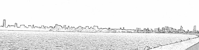 mumbai malabar hill skyline sketch